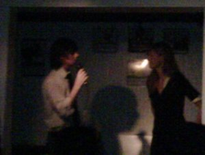 """Literary Death Match's Todd Zuniga and Jody Reale """"work the crowd"""" (picture compliments of Stephanie Hight)"""