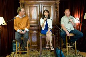 John Shors, Lindsey O'Connor, and Benjamin Whitmer talk Book Marketing. Photo by Rob Cement | RCVisual
