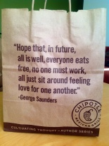 George Saunders' work can be found at a Chipotle near you.